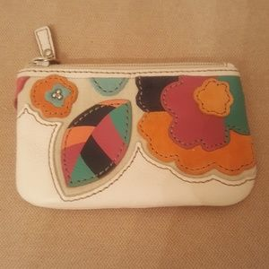 FOSSIL Floral Leather & Suede Coin Purse